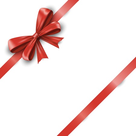 Realistic red ribbon bow with tails isolated on white background. Foto de archivo