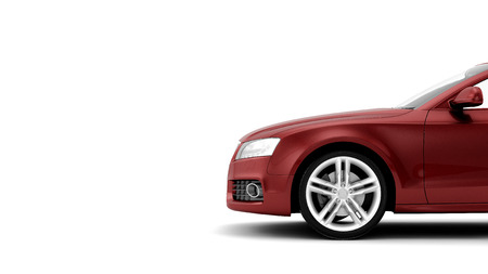 新しい CG 汎用高級赤詳細スポーツカー イラスト白い背景で隔離の 3 d レンダリング