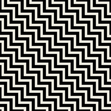Vector seamless pattern texture. Abstract background with black zigzag lines. Monochrome creative illustration.
