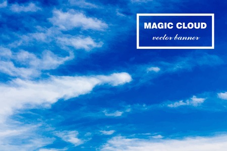 atmosphere: Vector abstract concept white cloud on blue sky background illustration. Realistic photographic colourful cloudscape. Magic cloudy clean environment atmosphere. Your creative conceptual presentation