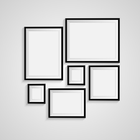 black and white frame: Blank picture frame template set isolated on wall Illustration