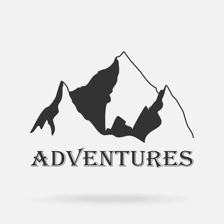 The three peaks vintage mountains. Adventure labels. Vector illustration