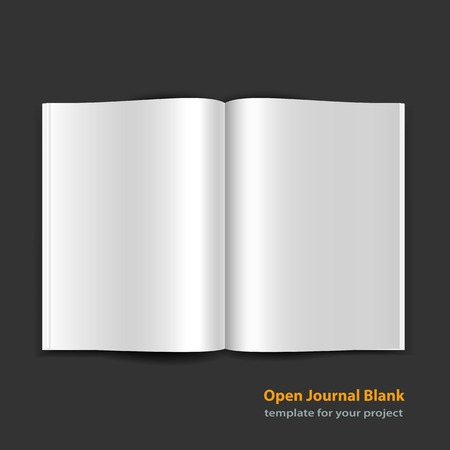 Open magazine double page spread with blank pages on black background.