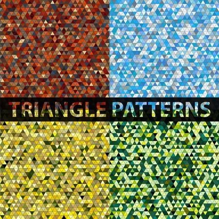 trendy tissue: Triangle pattern background set. Colorful mosaic banners. Vector illustration Illustration