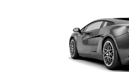 New CG 3d render of generic luxury detail sports car illustration isolated on a white background. With stylized noise effects