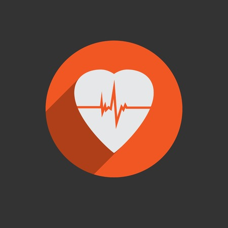 cardioverter: Defibrillator white heart icon isolated on red background illustration