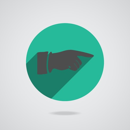 Hand finger icon. Green button for web illustration