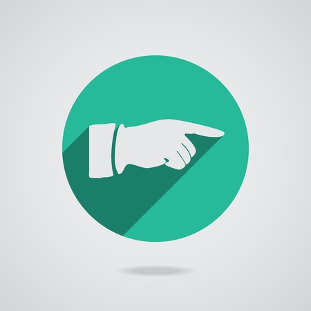Hand finger icon. Green button for web. photo