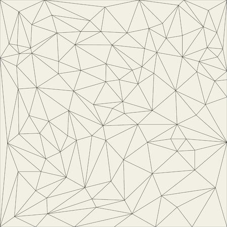 不規則な抽象的な線形グリッドの三角形。モノクロのテクスチャー パターンを網状しました。ベクトル イラスト