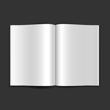 マガジンのダブル ページを開くは、黒の背景の空白のページで 。