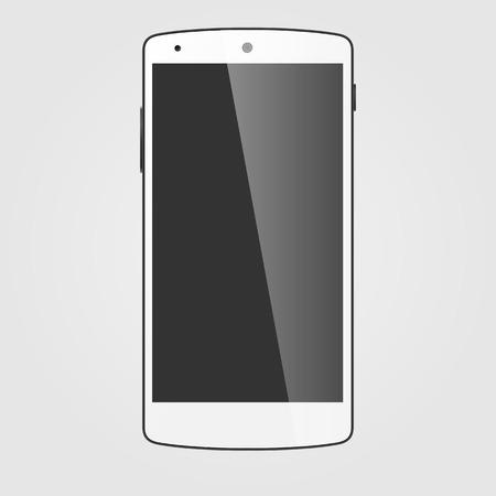 touchscreen: Modern white touchscreen cellphone.  Stock Photo