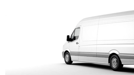 commercial van: Commercial van on a white background with shadow