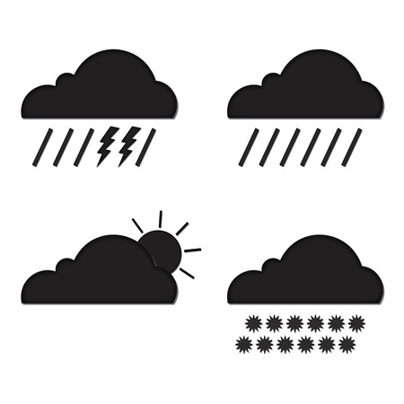 meteorologist: Clouds collection. Weather icons set. Web elements. Stock Photo