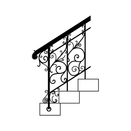 railings: Black forged metal railings with floral motifs.