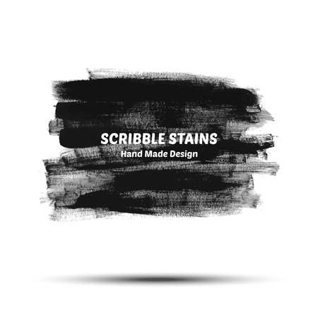 Scribble stains hand drawn in brush. Vector logo elements