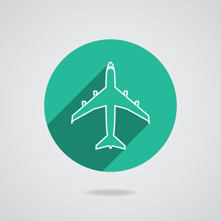 flight steward: Airplanes top flat white icon on gray background. Button with long shadow. Vector EPS10