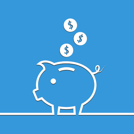 Money piggy bank in line on blue background. Vector illustration