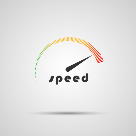 Speedometer icon. Logo company. Internet speed indicator. Vector illustration Stock Illustratie