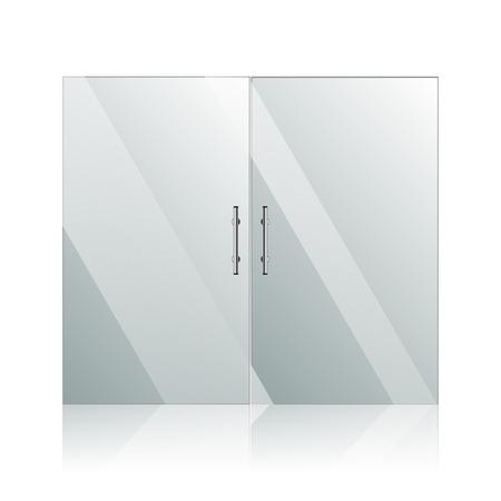 puertas de cristal: Vector puertas de cristal transparentes imagen de espejo con marco de acero en aislados en la pared blanca. S�mbolo arquitect�nico de interiores. EPS 10