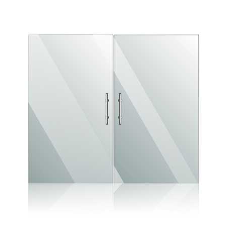 forepart: Vector transparent glass doors with mirror image in steel frame isolated on white wall. Architectural interior symbol.  EPS 10