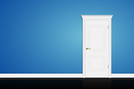 Closed white door on blue wall background. Vector Ilustracja