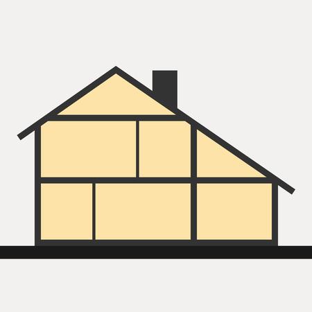 カットの家。垂直断面の建物。ベクトル図