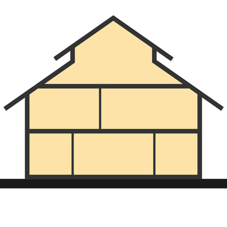 model houses: House in cut. Vertical cross section building. Vector illustration