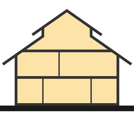 Huis in gesneden. Verticale doorsnede gebouw. Vector illustratie