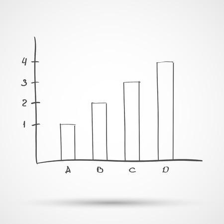statistical: Sketch diagram chart statistical text. Vector illustration