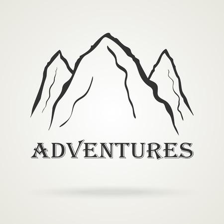 peaks: The three peaks vintage mountains. Adventure labels. Vector illustration