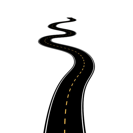 Abstract asphalt road isolated on white background Illustration