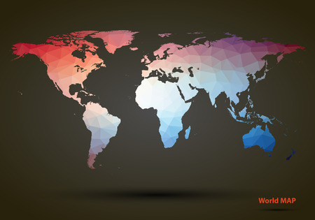 vintage world map: Abstract colorful triangle world map. Vector illustration