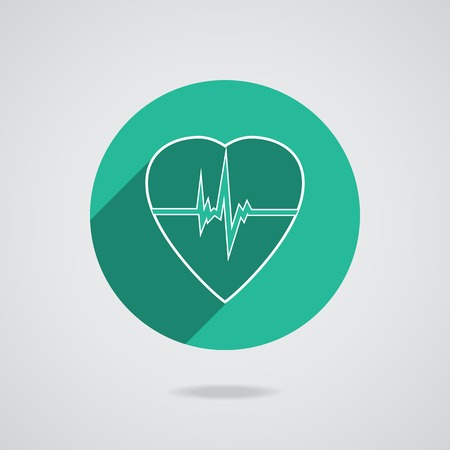 Defibrillator white heart icon isolated on green background.