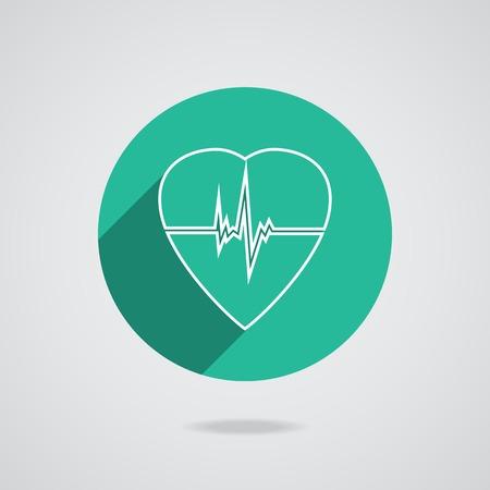cardioverter: Defibrillator white heart icon isolated on green background. Illustration