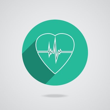 Defibrillator white heart icon isolated on green background. Illustration