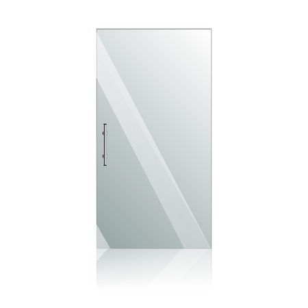 forepart: Vector transparent glass doors with mirror image in steel frame isolated on white wall. Architectural interior symbol.
