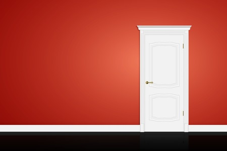 Closed white door on red wall background.