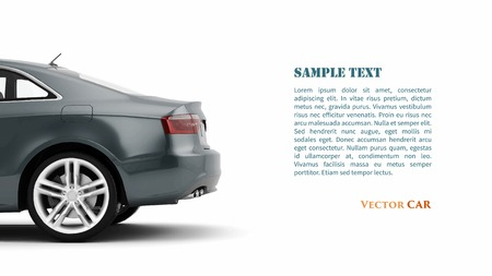 New 3d generic luxury detail sports car illustration isolated on a white background.  Illustration
