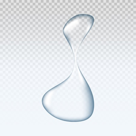 Realistic pure and transparent water drop with shadow on gray background.