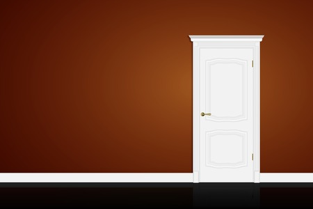 white door: Closed white door on brown wall background Illustration
