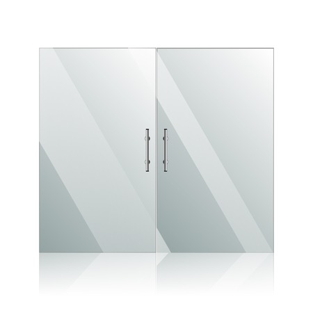 Transparent glass doors with mirror image in steel frame isolated on white wall. Architectural interior symbol. photo