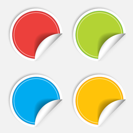 blank label: Colorful four blank stickers set. Badge collection illustration