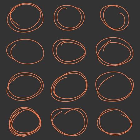 weave ball: Hand drawn scribble circles template set. Monochrome creative illustration. Vector