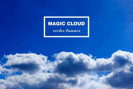 Vector abstract concept white clouds on blue sky background illustration. Realistic photographic colourful cloudscapes. Magic cloudy clean environment atmosphere. Your creative conceptual presentation