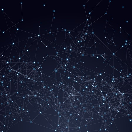 Abstract triangles space low poly. Dark background with connecting dots and lines. Light connection structure. Polygonal vector background. Futuristic HUD.