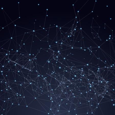 connexion: Résumé espace de triangles faible poly. Fond sombre avec des points de raccordement et des lignes. Structure de connexion lumière. Polygonale fond de vecteur. Futuriste HUD. Illustration