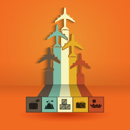 phonographic: Infographics with colorful airplanes. Statistics trips, air travel, cargo flights, vacation and tickets. Vector illustration Illustration