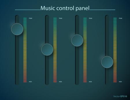 minimální: Realistický zelená kontrolka kovová deska pohárku. Hudba audio hlasitosti tlačítko knoflík minimální maximální úroveň. Otočit spínač rozhraní stereofonní tuner. Designovým prvkem. Vektorové ilustrace Ilustrace