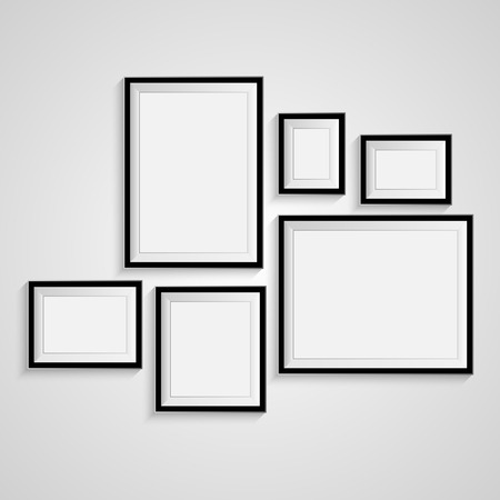 Blank picture frame template set isolated on wall Ilustração