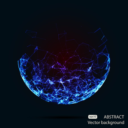 blue circle: Abstract vector mesh spheres. Futuristic technology low poly style. Elegant dots background for business presentations. Flying debris lines. Illustration eps10 Illustration